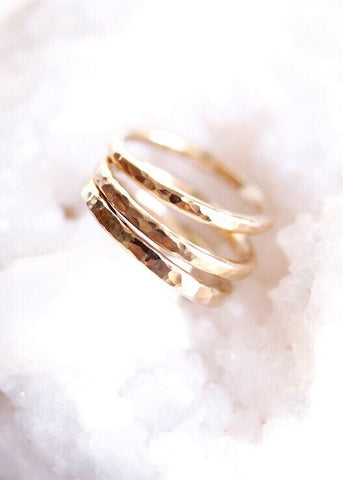 Gold Thick Stacking Ring - Ailani - Ke Aloha Jewelry