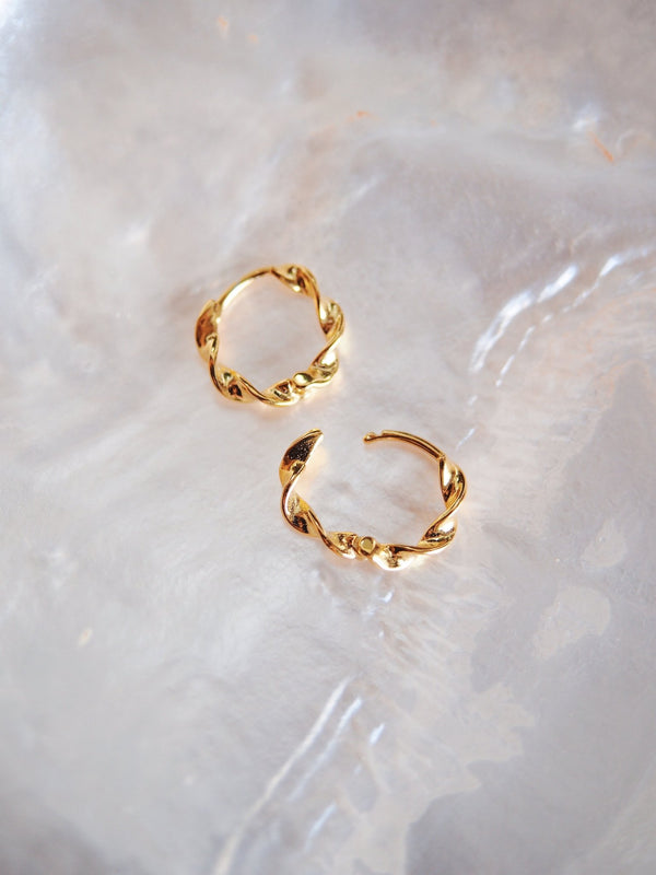 Earrings - Gold Vermeil Twist Huggie Hoop Earrings - Aukai - Ke Aloha Jewelry