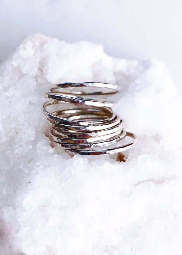 Hammered Delicate Silver Stack Ring - Kaiko - Ke Aloha Jewelry