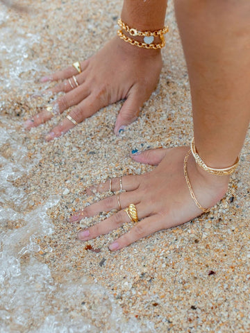 Rings - Hammered Gold Filled Stack Ring - Kaiko - Ke Aloha Jewelry
