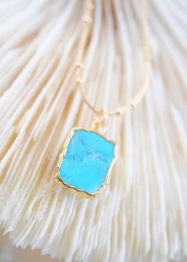 Gold Necklace - Howlite Turquoise Gemstone Gold Pendant Necklace - Alaka'i - Ke Aloha Jewelry