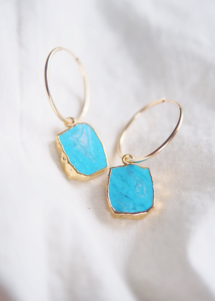 Earrings - Howlite Turquoise Gold Medium Hoop Earrings - Alaka'i - Ke Aloha Jewelry
