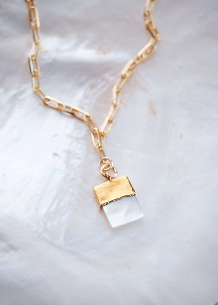 Mother of Pearl Gold Filled Rectangle Charm Necklace - Momilani