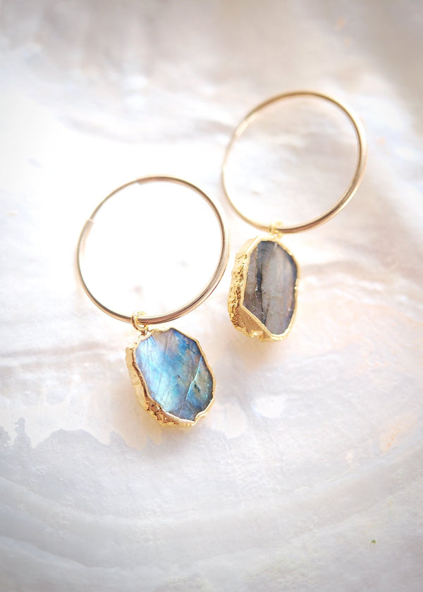Earrings - Labradorite Gold Medium Hoop Earrings - Ilihia - Ke Aloha Jewelry