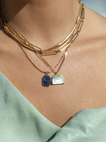 Gold Necklace - Lapis Lazuli Gemstone Gold Pendant Necklace - Ku - ke aloha jewelry