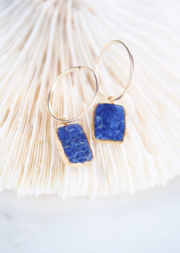 Earrings - Lapis Lazuli Gold Medium Hoop Earrings - Ku - Ke Aloha Jewelry