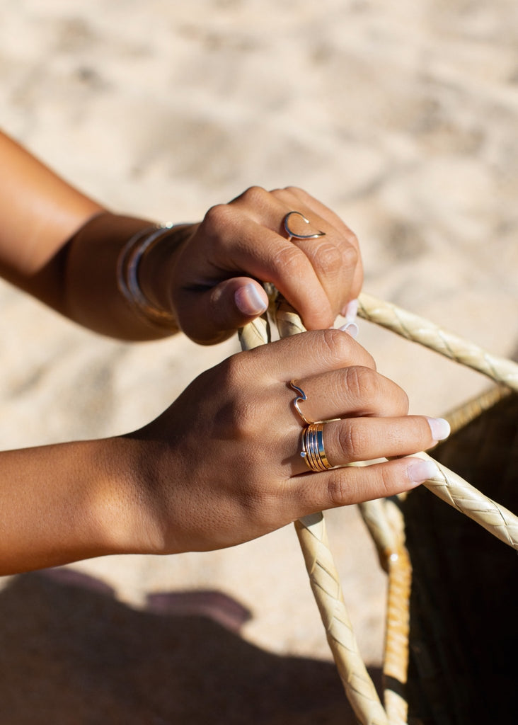 Rings - Mini Gold Wave Ring - Nalu - Ke Aloha Jewelry