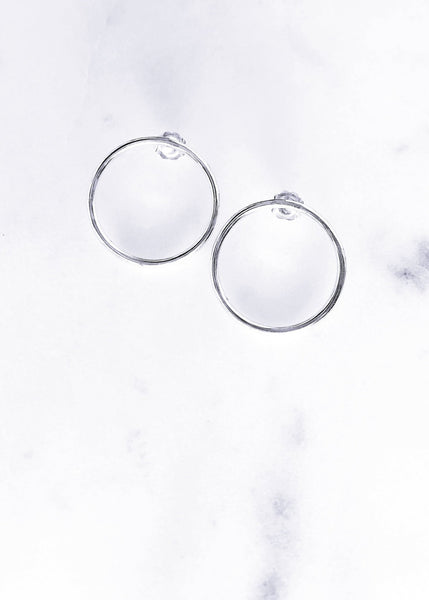 Minimal Silver Hoop Stud Earrings - Ho'ola'i - Ke Aloha Jewelry