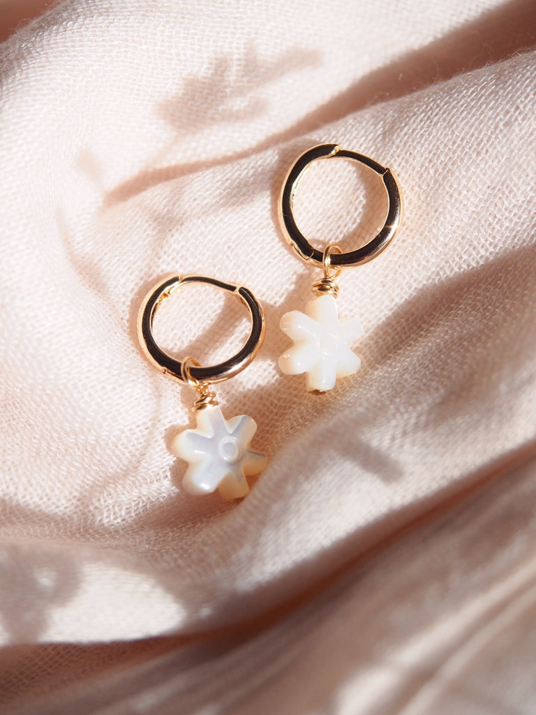 Earrings - Mother of Pearl and Gold Daisy Charm Huggie Hoop Earrings - Kaiki - Ke Aloha Jewelry