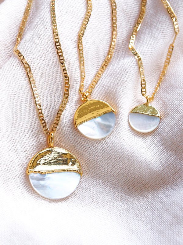 Gold Necklace - Mother of Pearl Gold Coin Necklace - A'ala - ke aloha jewelry