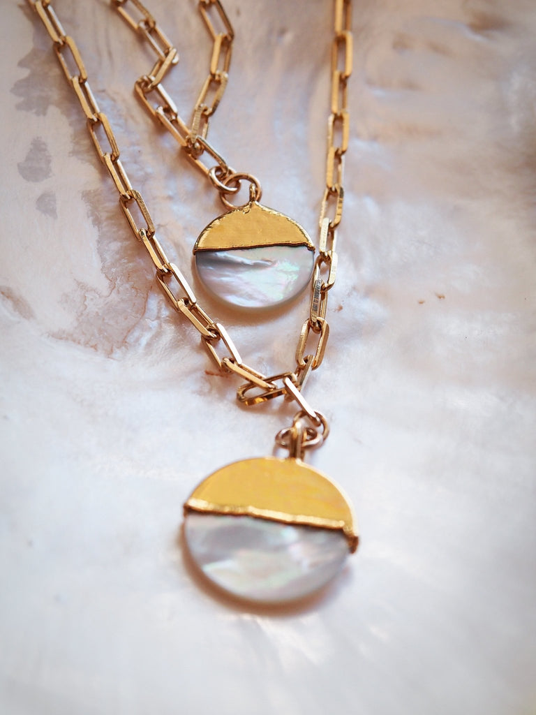 Gold Necklace - Mother of Pearl Gold Filled Coin Charm Necklace - Leimomi - Ke Aloha Jewelry