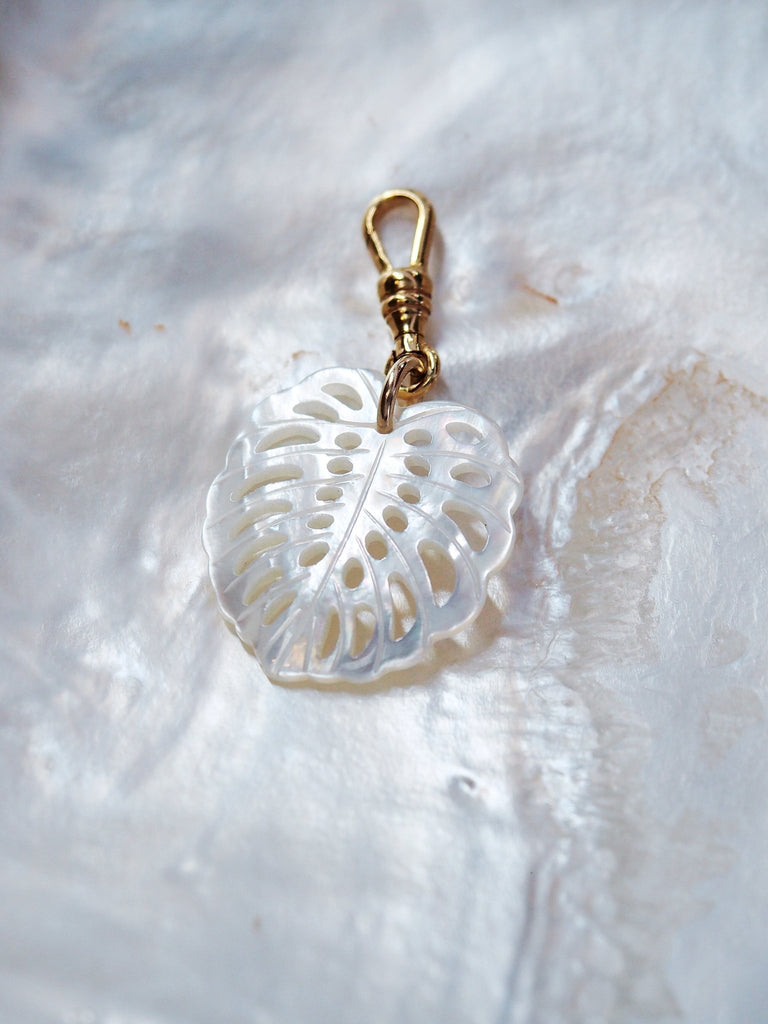 Charm - Mother of Pearl Shell Monstera Charm - Ke Aloha Jewelry