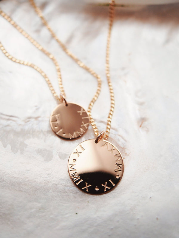 Gold Necklace - Personalized Roman Numeral Gold Disc Necklace - Makamae - Ke Aloha Jewelry