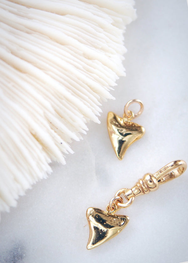 Charm - Petite Gold Shark Tooth Charm - Ke Aloha Jewelry
