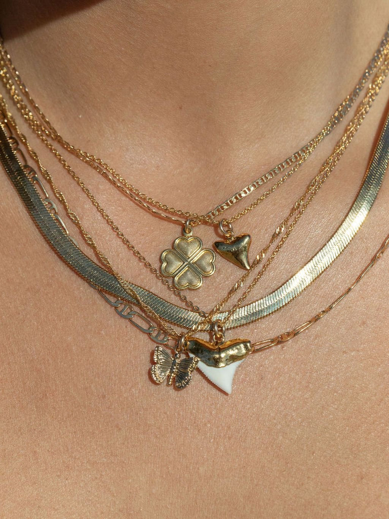 Gold Necklace - Petite Gold Shark Tooth Necklace - Bottled Petite Shark Tooth Necklace - ke aloha jewelry