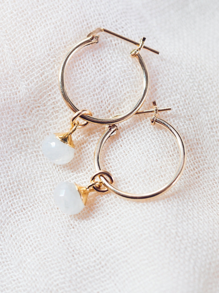 Earrings - Rainbow Moonstone Gold Hoop Earrings - Ipolani - Ke Aloha Jewelry