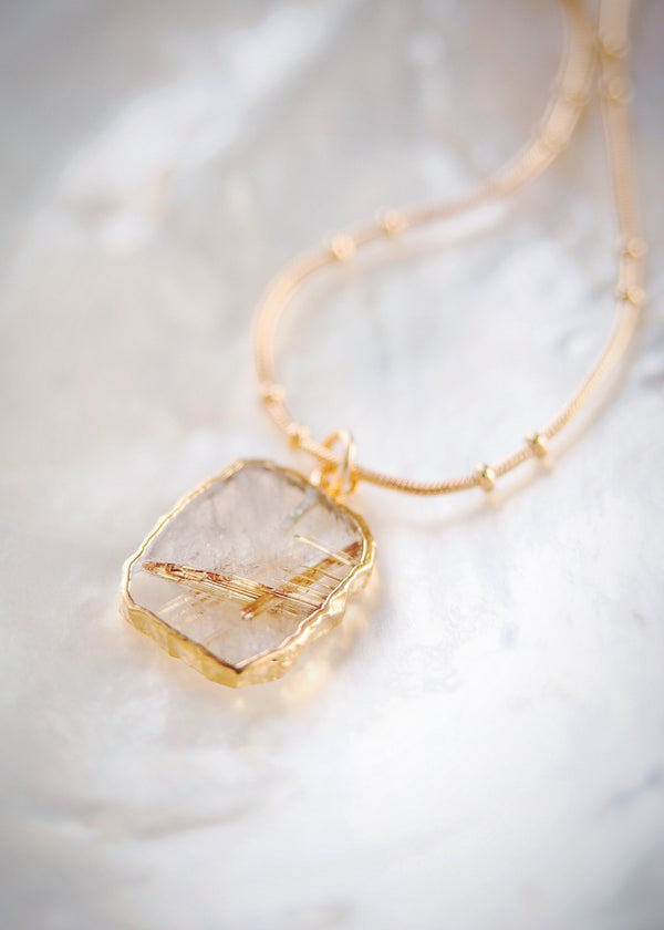 Gold Necklace - Rutilated Quartz Gemstone Gold Pendant Necklace - Hokuloa - Ke Aloha Jewelry
