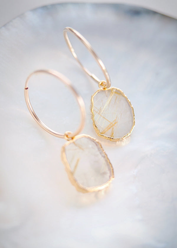 Earrings - Rutilated Quartz Gold Medium Hoop Earrings - Hokuloa - Ke Aloha Jewelry