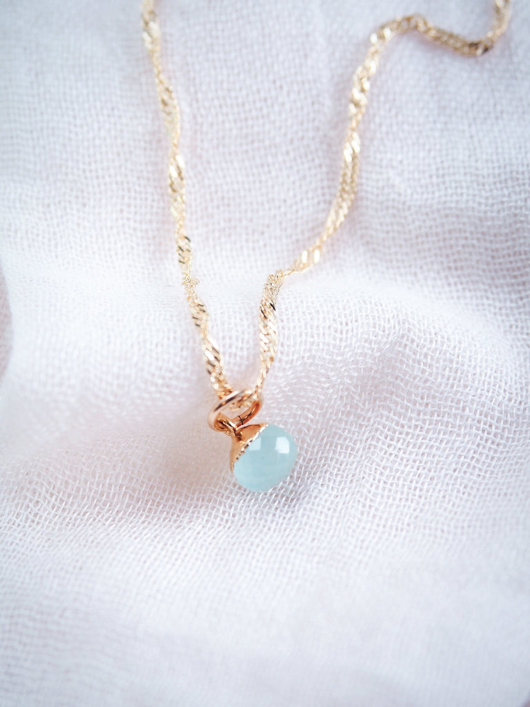 Gold Necklace - Seafoam Chalcedony Delicate Gold Chain Necklace - Kainehe - Ke Aloha Jewelry