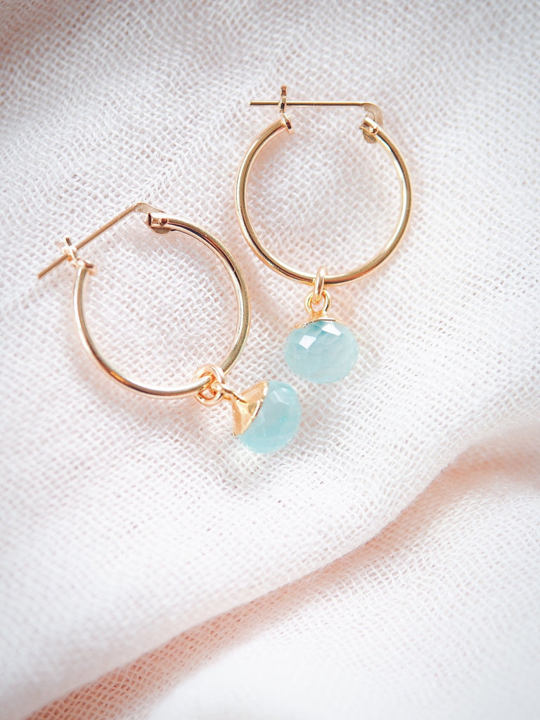 Earrings - Seafoam Chalcedony Gold Hoop Earrings - Kailani - Ke Aloha Jewelry