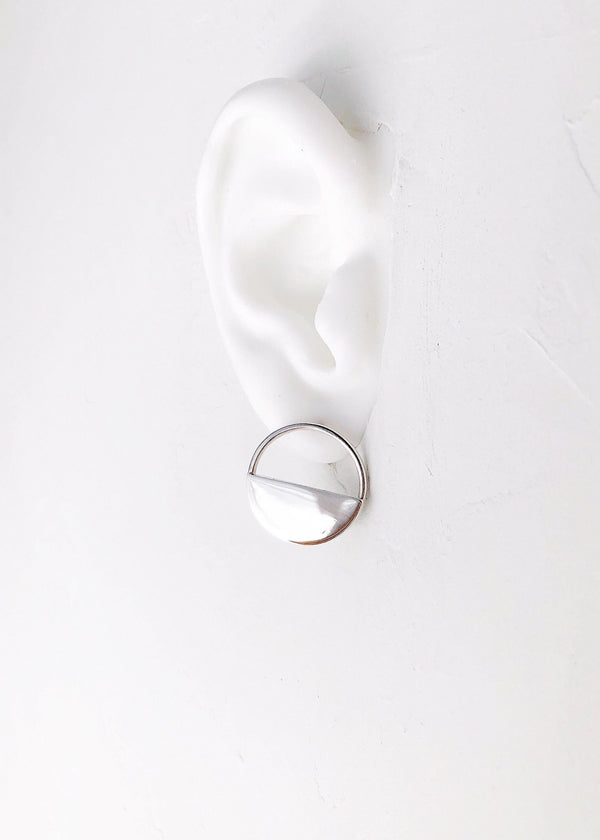 Silver Hoop Disc Earrings -Mele - Ke Aloha Jewelry