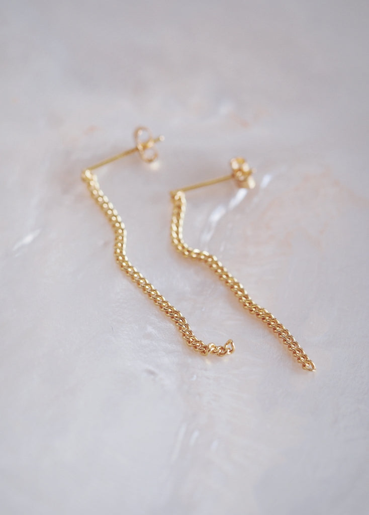 Earrings - Simple Dangling Gold Chain Tassel Earrings With Studs - Kaihalulu - Ke Aloha Jewelry
