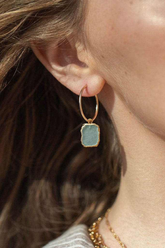 Earrings - Sky Blue Druzy Gold Hoop Earrings - Kehlani - ke aloha jewelry