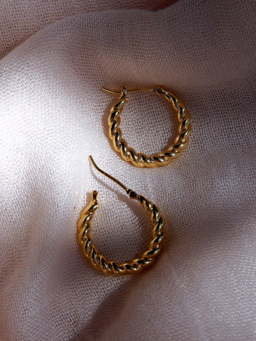 Earrings - Small Gold Twist Hoop Earrings - Keha - ke aloha jewelry