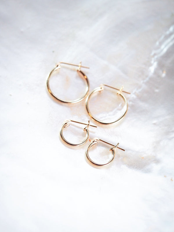 Earrings - Small or Medium Everyday Thin Gold Hoop Earrings - Iwikua - Ke Aloha Jewelry