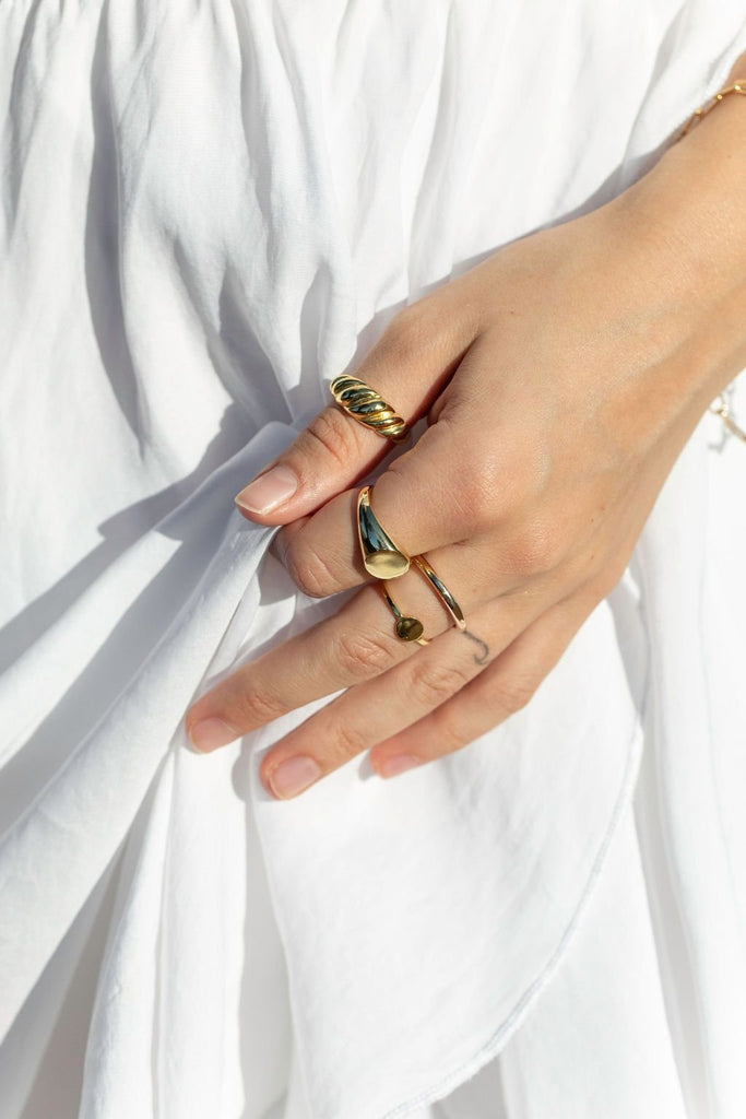 Rings - Statement Gold Signet Dome Ring - Kameli - ke aloha jewelry