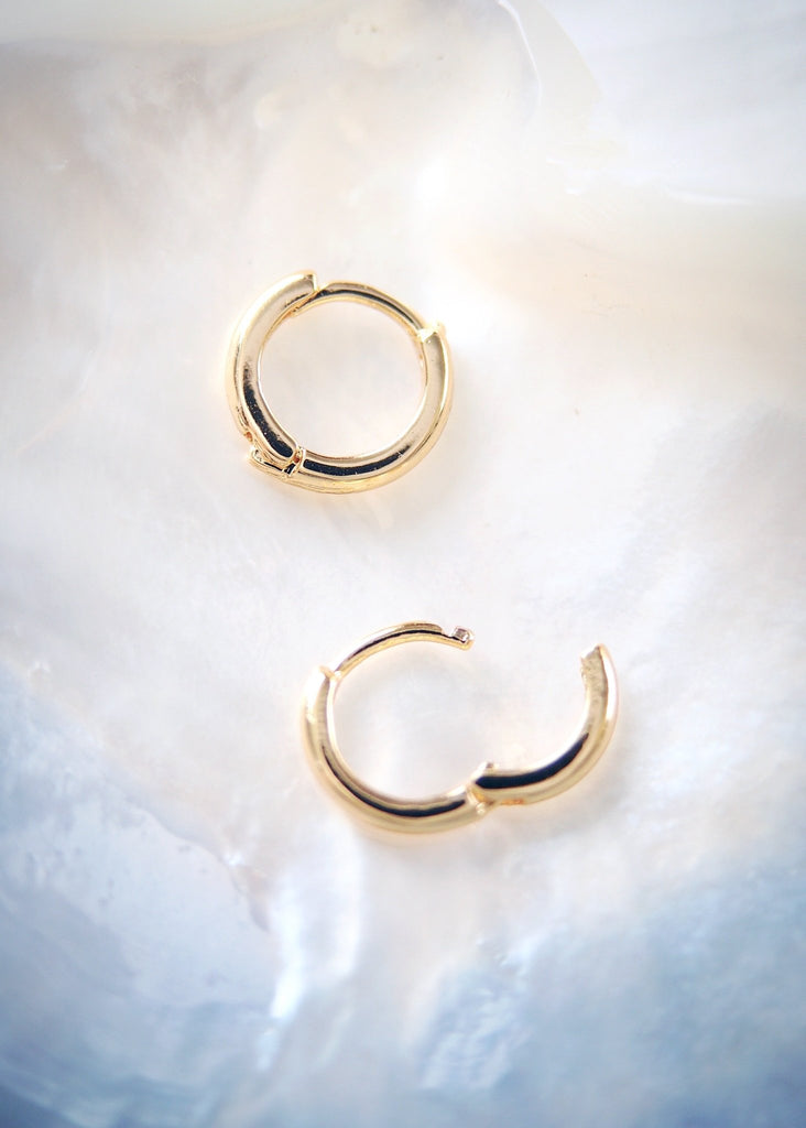 Earrings - Tiny 18kt Gold Filled Huggie Hoop Earrings - Auili'i - Ke Aloha Jewelry