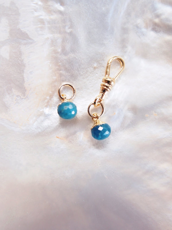 Charm - Tiny Gold Blue Apatite Gemstone Charm - Ke Aloha Jewelry