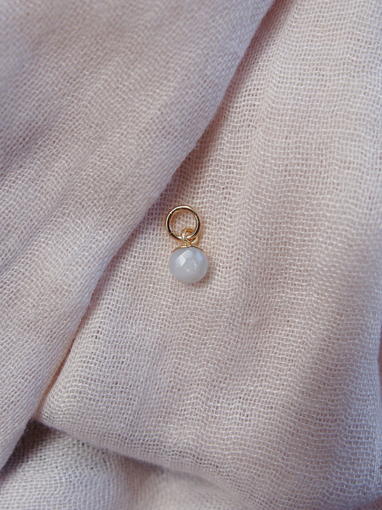 Charm - Tiny Gold Rainbow Moonstone Gemstone Charm - Ke Aloha Jewelry