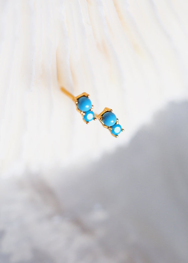 Earrings - Tiny Turquoise Gold Doublet Stud Earrings - Kalilinoe - Ke Aloha Jewelry