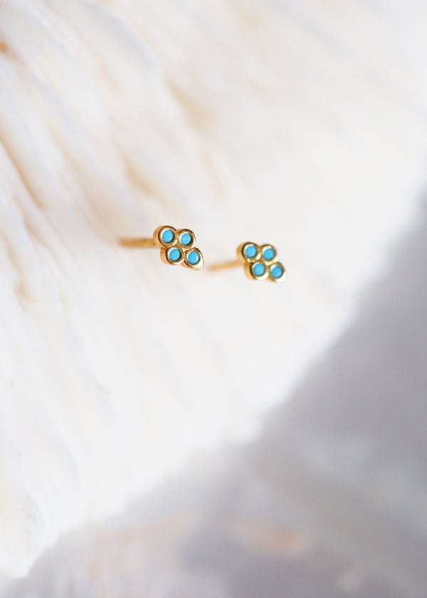 Earrings - Tiny Turquoise Gold Quartet Stud Earrings - Mililani - Ke Aloha Jewelry