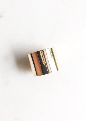 Wide Gold Cigar Band Ring - Kalia - Ke Aloha Jewelry