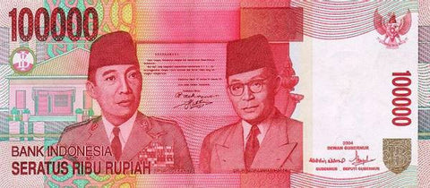 Indonesian Rupiah 100,000 Circulated Notes