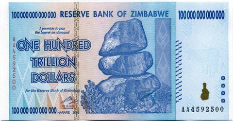 100 Trillion Zimbabwe UNC Notes AA 2008