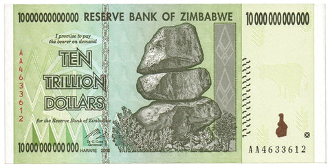 10 Trillion Zimbabwe CIRCULATED Notes AA/2008 Series