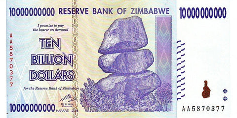 10 Billion ZImbabwe Dollars AA2008 CIRCULATED Condition
