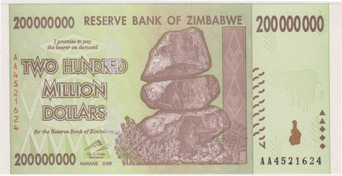 200 Million Zimbabwe Dollars AA2008 (RARE NOTE) Circulated Condition