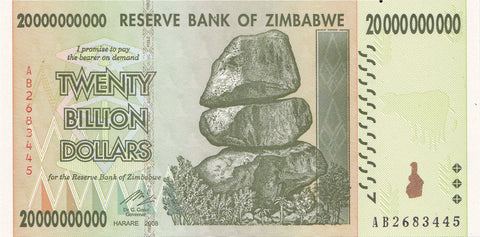 20 Billion Zimbabwe Dollars AA2008 CIRCULATED Condition