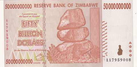 50 Billion Zimbabwe Dollars AA2008 Circulated Notes