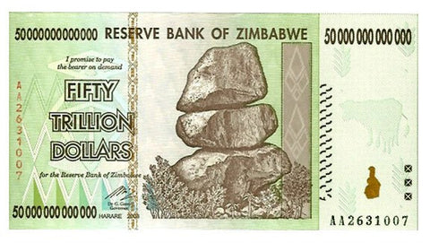 50 Trillion Zimbabwe Dollars Circulated Notes AA2008