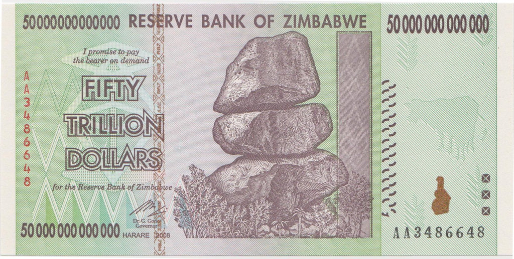 50 Trillion Zimbabwe UNC Notes AA/2008 - BuyIQD.Com
