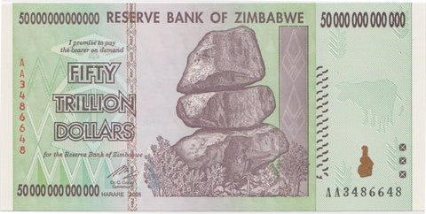 50 Trillion Zimbabwe UNC Notes AA/2008