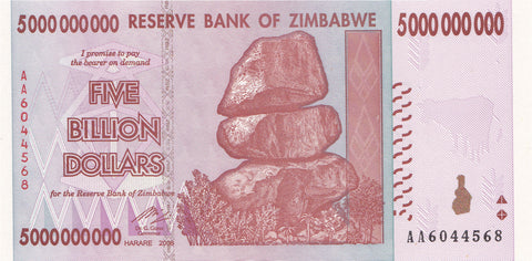 5 Billion Zimbabwe Dollars AA2008 CIRCULATED Condition