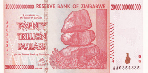 20 Trillion Zimbabwe UNC Notes AA/2008 Series