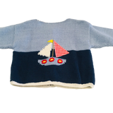 Art Walk Blue Sailboat Cardigan