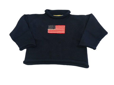 Navy Flag Rollneck Sweater